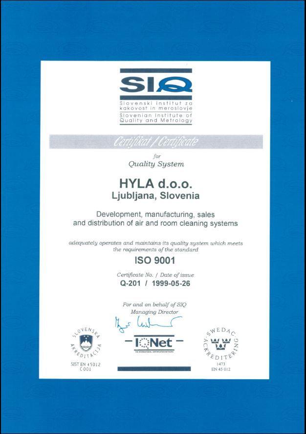 Obr Certifikát kvality výrobní závod Hyla ISO 9001