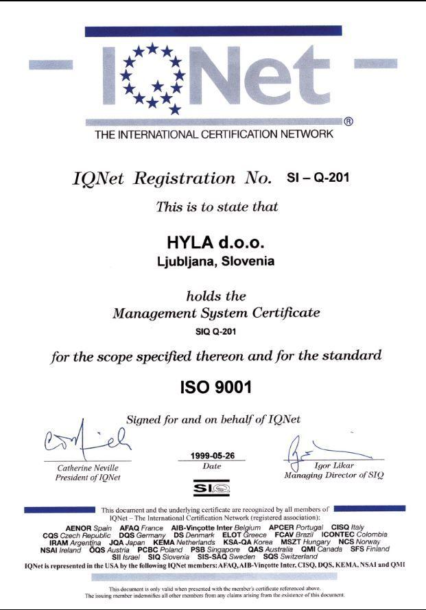 obr Certifikát výrobní kvality Hyla ISO 9001
