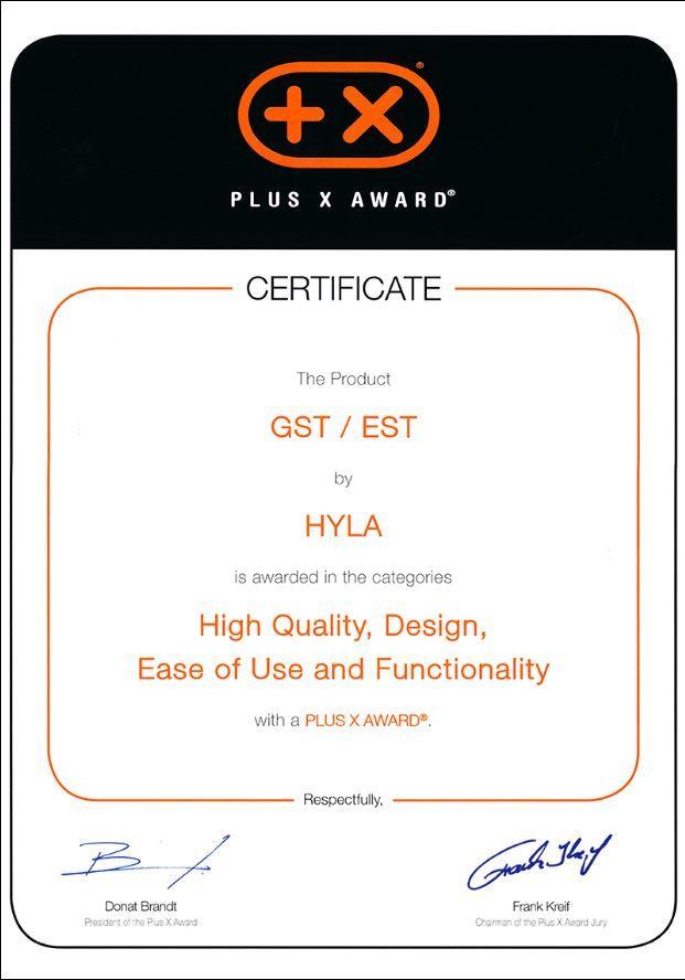 obr certifikát PlusXaward zavysokou kvalitu, Design, uživatelskou přívětivost afunkčnost