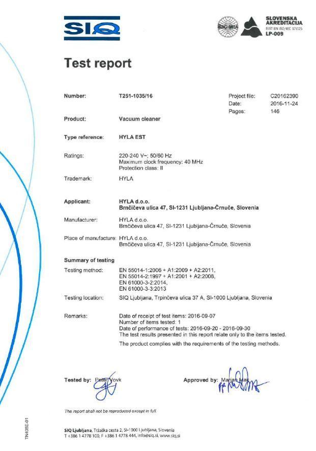 obr Certifikát výsledky testování Hyly EST aGST