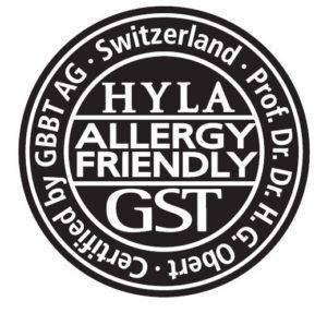 Pečeť potvrzující prospěšnost vodního vysavače Hyla pro alergiky aastmatiky