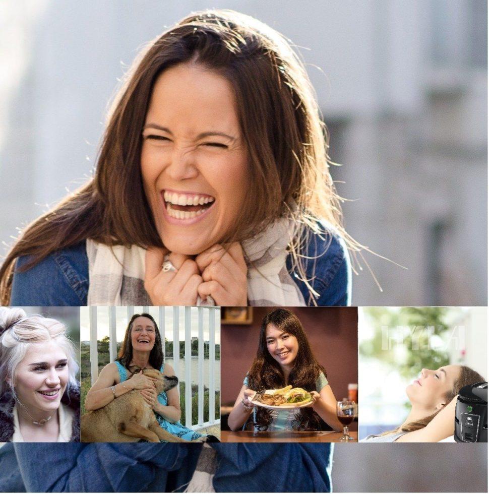 Žena se směje má hylu